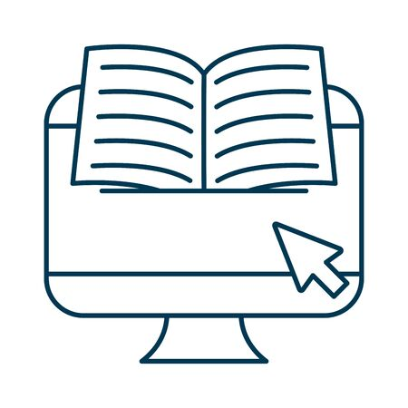 education electronic book in desktop vector illustration design