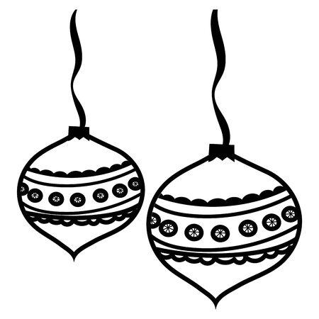 christmas balls hanging decorative icons vector illustration design
