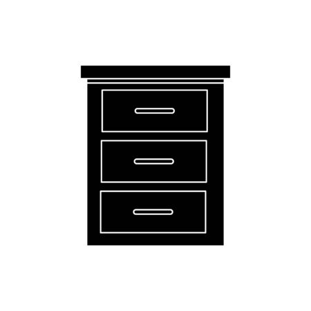 silhouette of wooden drawer furniture isolated icon vector illustration design Ilustracja