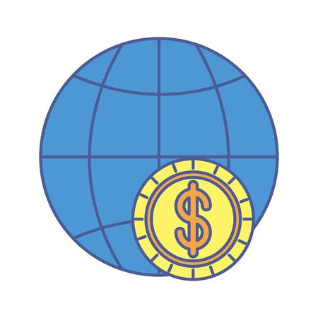 coin money dollar with sphere planet vector illustration design