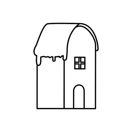 house with snow line style icon vector illustration design