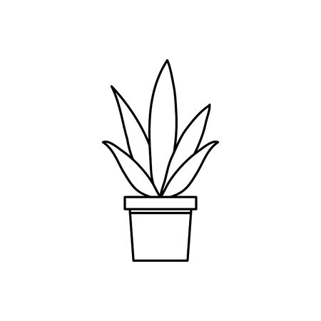 plant in house pot line style icon vector illustration design