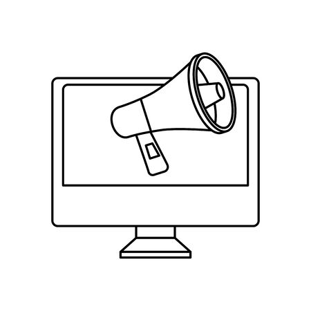 computer with megaphone line style icon vector illustration design