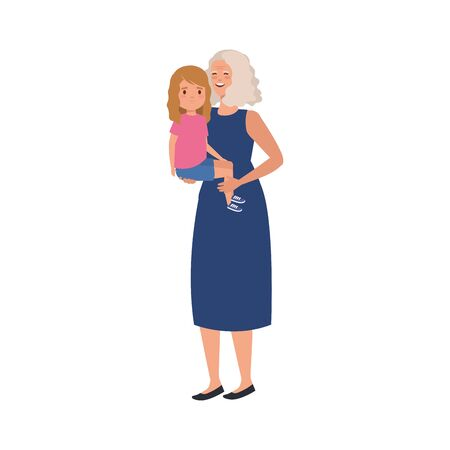 grandmother with granddaughter avatar character vector illustration design