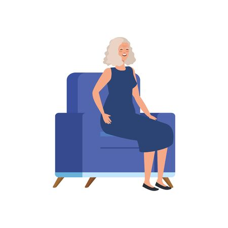 old woman sitting in sofa avatar character vector illustration design Ilustrace