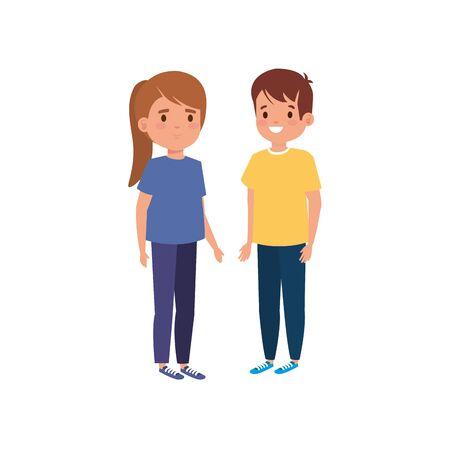 cute little children avatar character vector illustration design