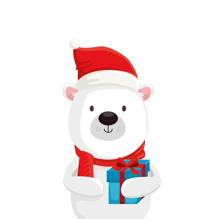 cute bear character merry christmas with gift box vector illustration design