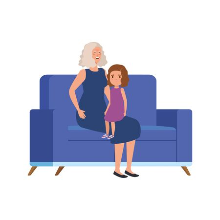 grandmother with granddaughter sitting in sofa vector illustration design