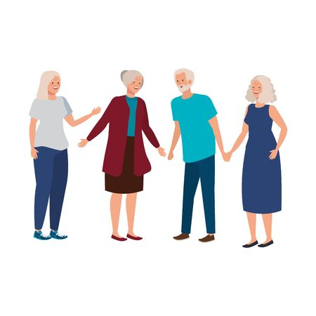 group old people avatar character vector illustration design
