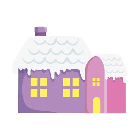 houses with snow isolated icon vector illustration design