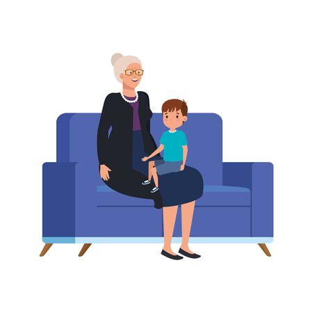 grandmother with grandson sitting in sofa vector illustration design