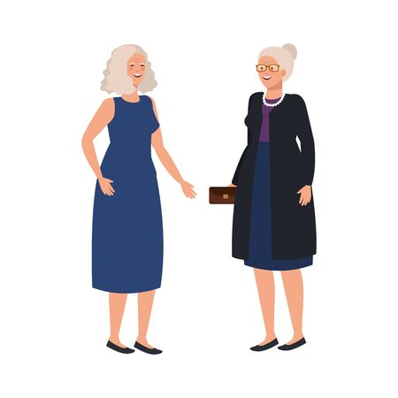 old women elegant avatar character vector illustration design Ilustrace