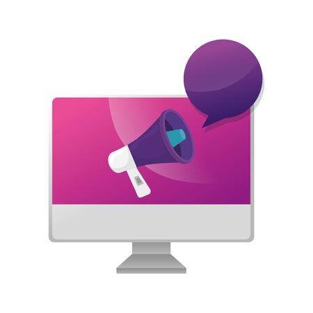 computer with megaphone and speech bubble vector illustration design Ilustração