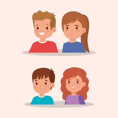 group of little children avatar character vector illustration design