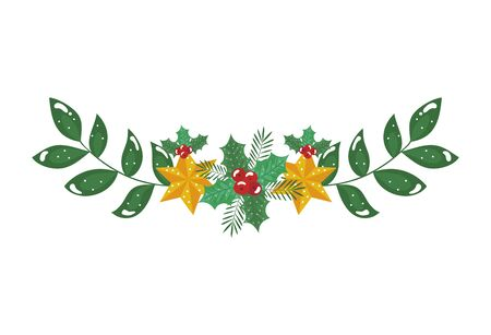 stars with branches and leafs decorative of christmas vector illustration design Ilustração