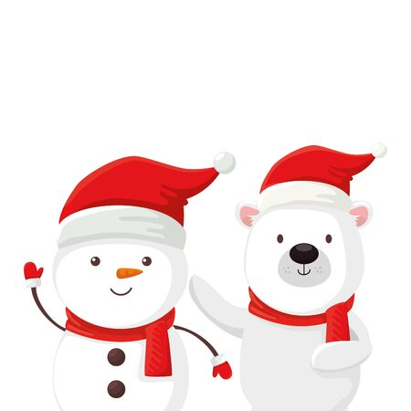 cute bear and snowman characters merry christmas vector illustration design