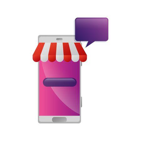 smartphone with parasol and speech bubble vector illustration design Illusztráció