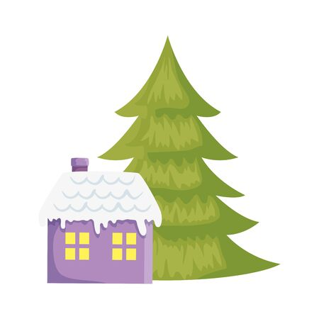 house with snow and pine tree christmas isolated icon vector illustration design Standard-Bild - 134046113