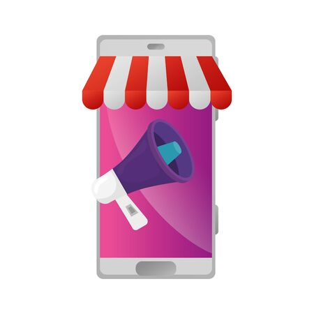 smartphone with parasol store and megaphone vector illustration design