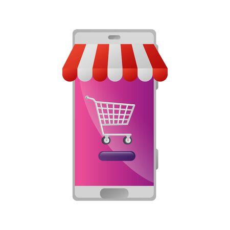 smartphone with parasol store and cart shopping vector illustration design Illusztráció
