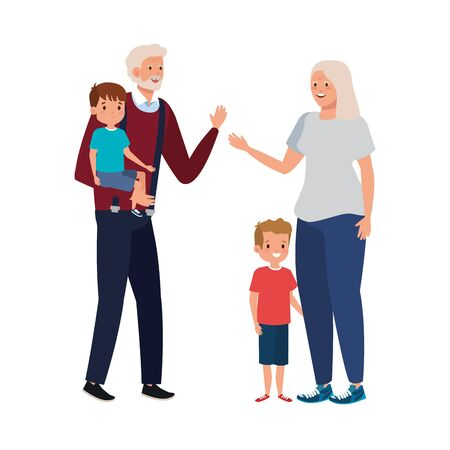grandparents with grandchildren avatar character vector illustration design