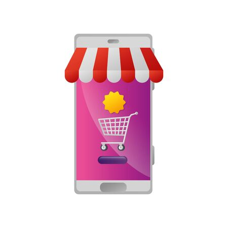 smartphone with parasol and cart shopping vector illustration design