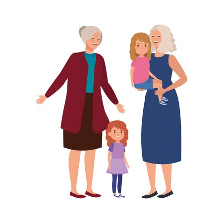 grandmothers with granddaughters avatar character vector illustration design