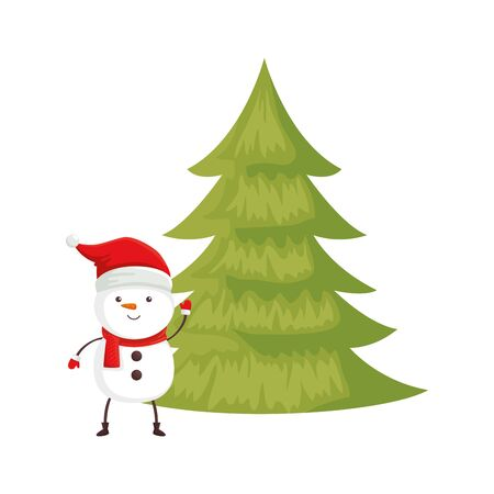 snowman with pine tree of merry christmas vector illustration design