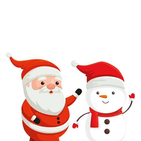 santa claus with snowman characters merry christmas vector illustration design