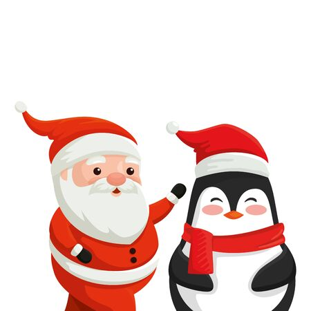 santa claus with penguin characters merry christmas vector illustration design