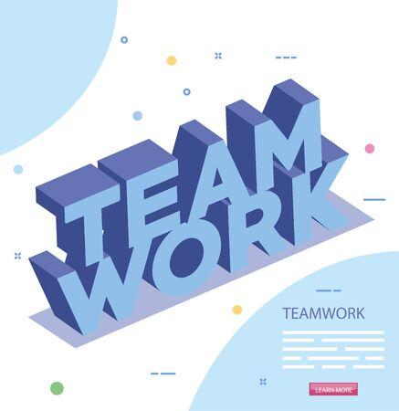 napis pracy zespołowej na białym tle ikona wektor ilustracja projektu