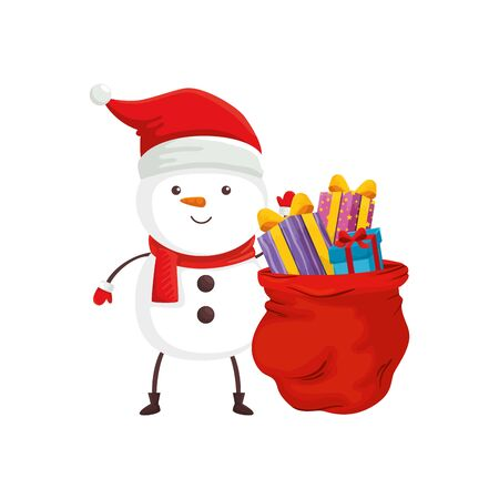 snowman and bag with gifts of merry christmas vector illustration design