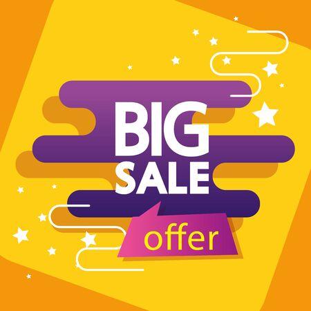 commercial label with big sale offer lettering vector illustration design Illustration