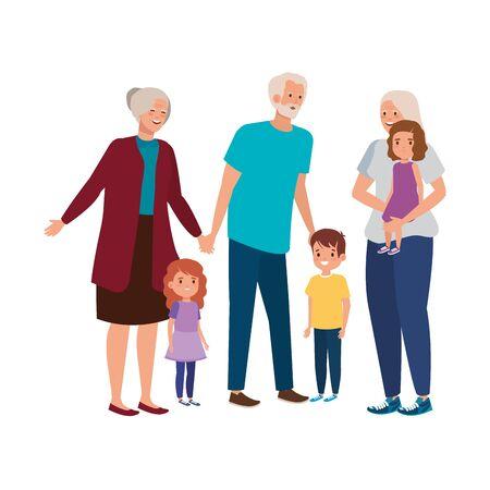 grandparents with grandchildren avatar character vector illustration design