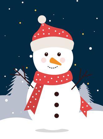 merry christmas snowman in winter landscape vector illustration design