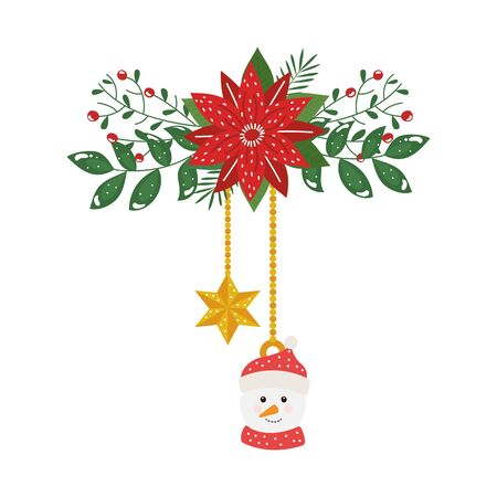 snowman and star hanging with flower christmas decorative vector illustration design Ilustração
