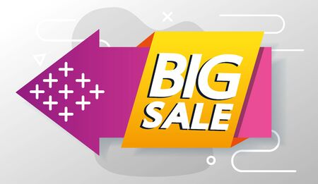 commercial label with big sale offer lettering and arrow vector illustration design