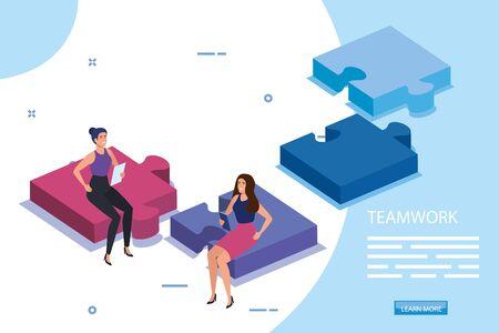 work team female sitting in puzzle pieces vector illustration design