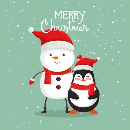 merry christmas poster with snowman and penguin vector illustration design