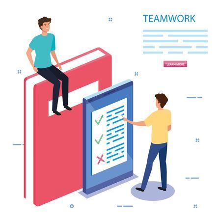 work team with book and smartphone vector illustration design Ilustração