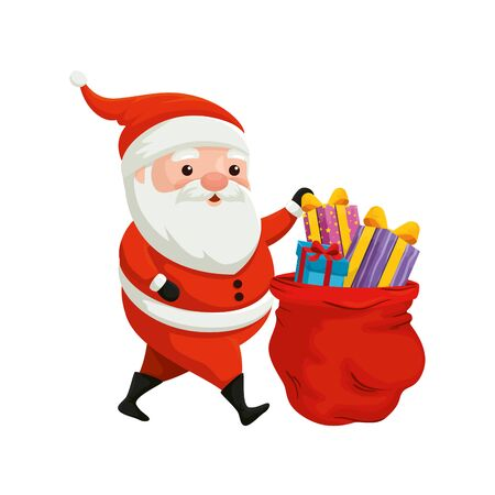 santa claus and bag with gifts of merry christmas vector illustration design Ilustração