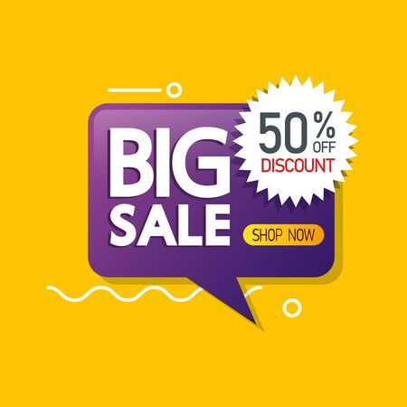 commercial label with big sale lettering in speech bubble and fifty percent discount vector illustration design