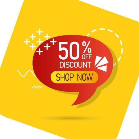 commercial label with fifty percent discount in speech bubble vector illustration design