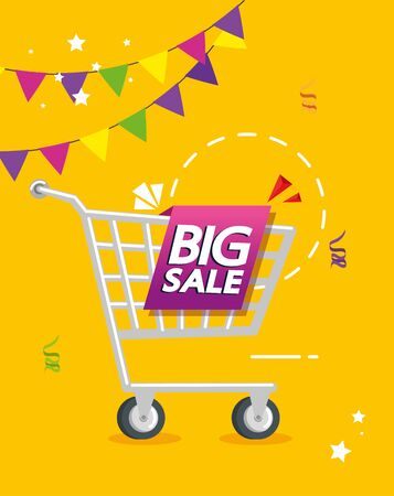 commercial label with big sale offer lettering and cart shopping vector illustration design