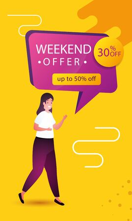 woman and commercial label weekend offer with percents discount vector illustration design