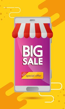 commercial label with big sale lettering in smartphone and thirty percent discount vector illustration design