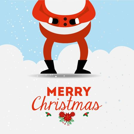 merry christmas poster with santa claus legs vector illustration design