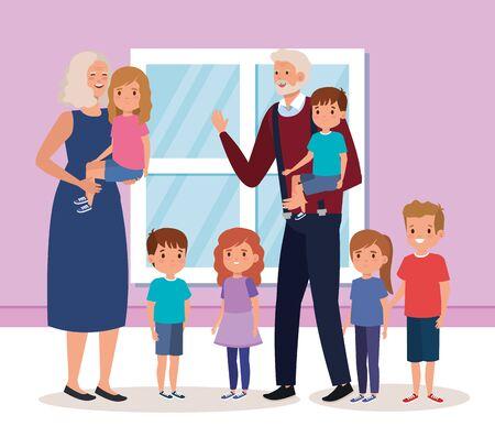 grandparents with grandchildren indoor house scene vector illustration design
