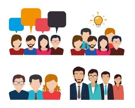 bundle avec ensemble de gens d'affaires visage conception d'illustration vectorielle
