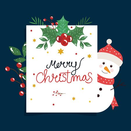 merry christmas poster with snowman and leafs decorative vector illustration design